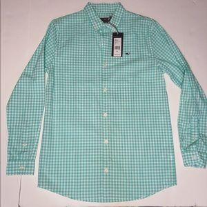 NWT Vineyard Vines Boys Gingham Whale Button Shirt